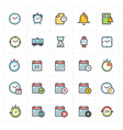 icon set - time and schedule full color vector image vector image