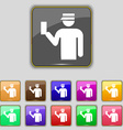 Inspector icon sign Set with eleven colored vector image
