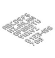 isometric font alphabet in thin line style vector image vector image