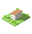 isometric of house with orange lean roof on the vector image