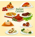 Italian cuisine dinner icon with popular dishes