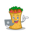 kebab wrap character cartoon with laptop vector image vector image