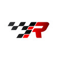 letter r with racing flag logo vector image vector image