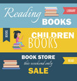 library with reading children books and bookstore vector image vector image