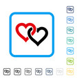 linked hearts framed icon vector image