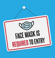 no facemask entry sign information warning vector image
