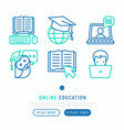 online education thin line icons set vector image