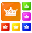 prince crown icons set color vector image vector image