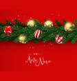 red christmas tree ornament banner in portuguese vector image