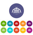 robot icons set color vector image vector image