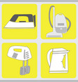 set of icons with household appliances vector image