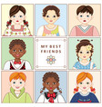 set of portraits avatars of various kids children vector image
