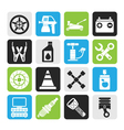 Silhouette Transportation and car repair icons vector image