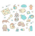 sleep and dream doodle set - cute cartoon animals vector image