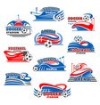 soccer stadium icon of football sport building vector image vector image