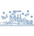 spain cadiz winter city skyline merry christmas vector image vector image