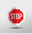 stop symbol red and white bent paper road sign vector image