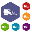 Tango shoe icons set hexagon