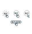 touch and press buy button line icons set on white vector image