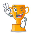 two finger cartoon trophy cup with star on cyan vector image
