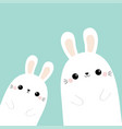 two rabbit bunny in corner friends forever vector image vector image