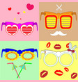 various fashionable glasses vector image