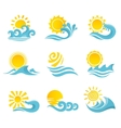 Waves Sun Icons Set vector image