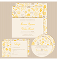 wedding invitation set yellow vector image vector image