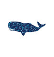 whale undersea color silhouette animal vector image
