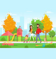young family with toddler vector image