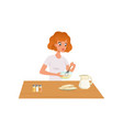 young woman kneading dough girl preparing healthy vector image vector image