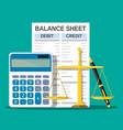 Balance sheet with calculator scales and pen