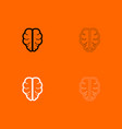 brain black and white set icon vector image vector image