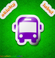 Bus icon sign Symbol chic colored sticky label on vector image