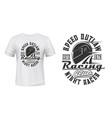 car or motorcycle racing helmet t-shirt print vector image vector image