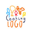 colorful handmade logo with abstract food decor vector image vector image
