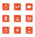 combine love icons set grunge style vector image vector image