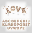 Comic cartoon chocolate with candy heart alphabet vector image vector image
