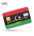 Credit card with Libya flag background for bank vector image vector image