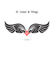 d-letter sign and angel wingsmonogram wing logo vector image vector image