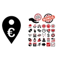 Euro Map Marker Flat Icon with Bonus vector image vector image