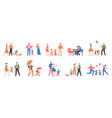 family walking relatives people outdoor mom dad vector image