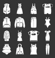 fashion clothes wear icons set grey vector image vector image