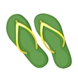 Green flip-flops icon in cartoon style isolated on vector image