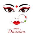 happy dussehra contour of maa durga face vector image vector image