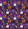 happy halloween seamless pattern background set vector image vector image