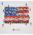 large group of people in the usa flag shape vector image vector image