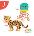 Letter J Cute animals Funny cartoon animals in vector image vector image
