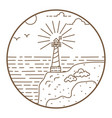 lighthouse round line style badge vector image vector image