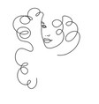 line drawing a beautiful woman 4 vector image vector image